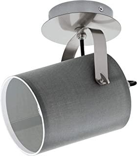 EGLO 壁灯 Villabate,1 根火焰织物壁灯,材料:钢,织物,颜色:哑光镍,灰色,灯座:E27