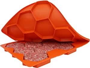 Shape+Store Burger Master Sliders 10 合 1 创新汉堡压和冷冻容器,10 支装,火焰橙色