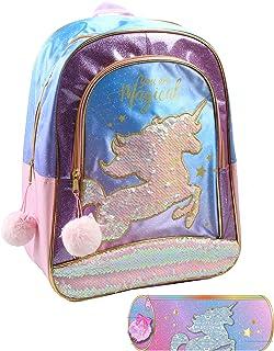 Jacob & Co. 背包 + 铅笔盒,独角兽背包,适用于儿童,40 厘米,粉色