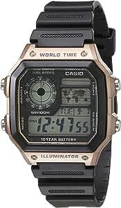 Casio 卡西欧 男式 10 年电池日本石英手表树脂表带,黑色,21(型号:AE-1200WH-5AVCF)