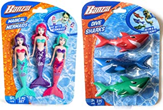 Banzai 3 件套魔法美人鱼玩偶和 3 件潜水鲨鱼泳池玩具套装,泳池玩具
