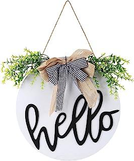 Welcome Sign 门花环,前门欢迎标志,前门装饰挂牌,圆形木质悬挂前门标志,带绳子,家居装饰(HELLO 白色)