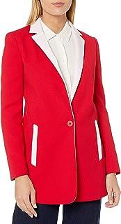 A|X Armani Exchange 女式长款优雅西装,带口袋和单扣