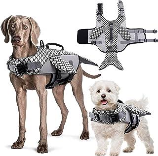 IDOMIK 狗狗救生衣防撕裂*背心浮动防御外套,适用于中小型犬,反光可调节鲸鱼救生衣泳衣,带救援手柄,适用于泳池沙滩划船