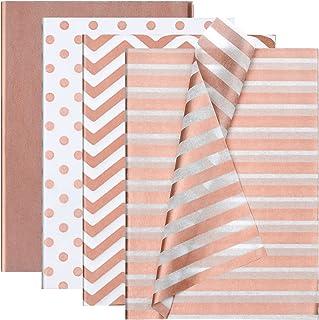 Ruisita 40 张玫瑰金什锦 4 种风格纸巾纸工艺纸装饰纸折叠礼品包装纸艺术纸巾适用于 DIY 工艺品婚礼生日派对