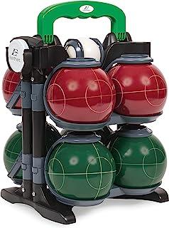EastPoint 运动树脂摇篮球套装 - 具有豪华手提箱 - 包括 8 个球队颜色的 Bocce 球,1 个宫殿和 1 个测量带