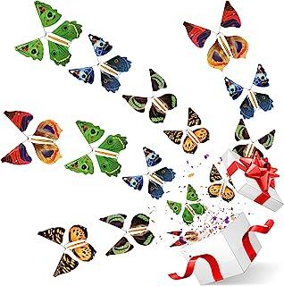LEAMEERY 魔法蝴蝶发条玩具,仙女飞行橡胶带动力蝴蝶玩具,有趣的放养塞物适合彩色书签和贺卡惊喜礼物,婚礼祝愿