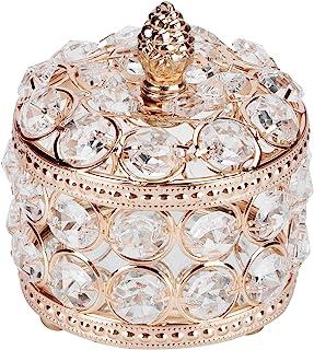 AUNMAS 水晶首饰盒,饰品收纳盒耳环戒指盒宝盒存储纪念品带盖子适用于婚礼梳妆室装饰