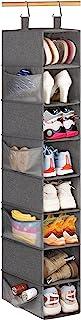 KIMBORA 8 层悬挂鞋收纳袋,带 8 个侧网袋悬挂衣橱收纳袋及收纳帽架,适合鞋子帽钱包服装,灰色