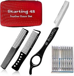 Feather 理发剃须刀,女士理发剪,带剃刀,10 个刀片,2 个造型梳子和盒