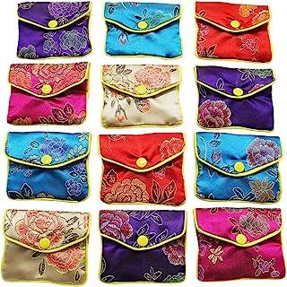 "MorTime Jewelry 丝绸钱包袋礼品袋,多种颜色,12 件装(L 码,4""x4.7"")"