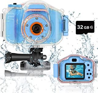 DEKER 儿童相机防水男孩女孩玩具 3-12 岁圣诞节生日礼物儿童水下迷你摄像机儿童高清数码动作相机 2 英寸 IPS 屏幕带 32GB 卡(蓝色)