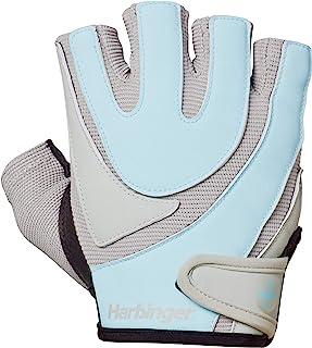 Harbinger 女士训练握力举重手套,带 TechGel-衬垫皮革手掌(一对)