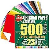 [Taro's Origami Studio] 标准 6 英寸(约 15.2 厘米) 单面 23 种颜色 500 张方形…