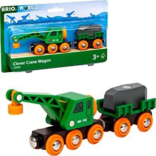 BRIO World - 33698 聪明起重车四轮车套装   4 件火车配件和起重机玩具,适合 3 岁及以上的儿童,红色