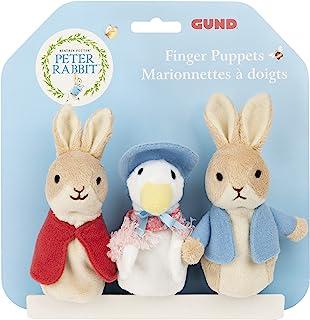 GUND Beatrix Potter 经典彼得兔 Flopsy Jemima 水坑-鸭手指木偶三件套软毛绒玩具,3 英寸(约 7.6 厘米)