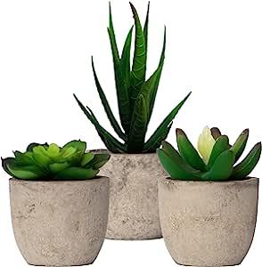 仿真多肉植物与水泥般的花盆(3 件)逼真的*迷你盆栽人造植物布置 | 家居装饰、办公室、宿舍、浴室或洗手间、厨房餐桌中心摆件