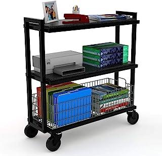 大西洋车系统 3 层推车 - 宽移动存储、交换架和篮子,粉末涂层钢框架 3 Tier 黑色 23350329