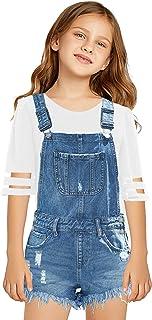 GRAPENT 女孩前口袋纽扣牛仔背带工装裤牛仔短裤 4-13 岁