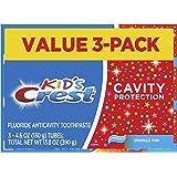 Crest Kid's Cavity 保护牙膏(儿童和学步儿童2+),闪亮趣味口味,4.6 盎司,3 支装