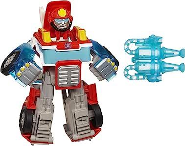 Hasbro 孩之宝 Playskool Heroes 变形金刚救援机器人,为热波带来活力,转换火力转换的玩具擎天柱,适合3岁及以上儿童的玩具