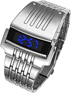 DDL Watch 男士时装设计时尚手链手表蓝色 LED 金属银