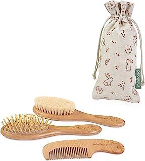 Miniland 婴儿梳子套装天然木材 * 可持续袋子 环保婴儿礼品套装 环保系列