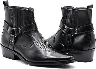 Enzo Romeo WSTN01 男式西部靴侧拉链尖头系带时尚靴子