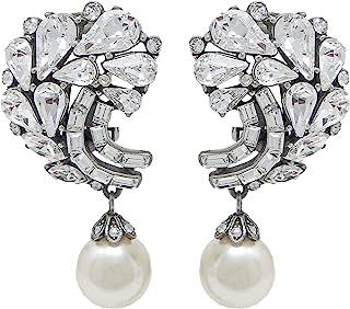 Ben-Amun 珠宝珍珠水滴施华洛世奇水晶簇夹式耳环周年纪念礼物