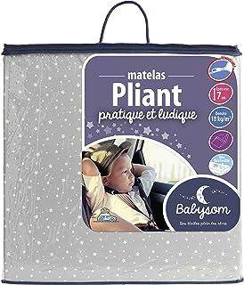 Babysom 可折叠婴儿床垫 | 旅行床垫 – 60 x 120 x 7 厘米 – 婴儿床 – 床罩可拆卸 – 冷泡沫