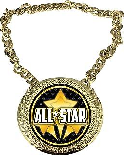 Express Medals 全明星冠军链*杯中心牌匾牌,尺寸为 15.24 x 13.32 厘米,包括一条 86.26 厘米链子和黑色天鹅绒礼品袋。