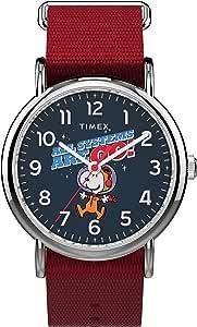 Timex TW2T82600 中性款 Weekender X 太空史努比 38 毫米红色面料表带手表