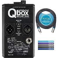 Whirlwind Qbox 音频线测试器套装带 Blucoil 10-FT 平衡 XLR 电缆,5 件装可重复使用的电…
