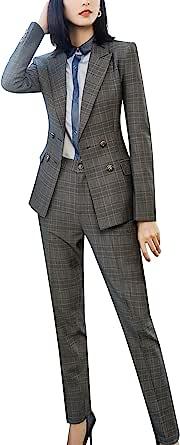 LISUEYNE 女式两件套办公室女士商务套装格子女士工作西装外套夹克裤套装