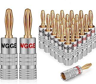 WGGE WG-009 香蕉插头音频插孔连接器,24k 金双螺丝锁定扬声器连接器WG-009 12 Pairs (24 plugs)