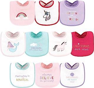 Luvable Friends 中性款婴儿围嘴 10 件装,独角兽和美人鱼,均码