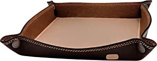 皮革托盘收纳盒 – 实用储物盒,适用于钱包、手表、钥匙、硬币、手机和办公设备(棕色和奶油色)