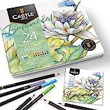 """Castle Arts 主题24支彩色铅笔套装,锡盒,完美的""""植物""""艺术色彩。特色、光滑彩色芯、卓越的混合和分层性能带来…"""