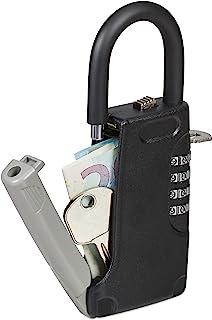 Relaxdays 带把手钥匙保险箱,4 位数字代码,外部,钥匙*小,高 x 宽 x 深:14.5 x 6 x 2 厘米,黑色,1 件,10028713