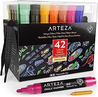 ARTEZA 液体粉笔,水基 42 色套装,带 50 个免费的黑板标签和可更换的小笔尖,适用于儿童、成人、小酒店和餐厅