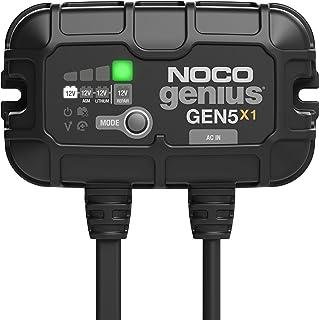 NOCO Genius GEN5X1,1-Bank,5 Amp(每组 5安培)全自动智能船用充电器,12V 车载电池充电器,电池维护器和电池脱落器,带温度补偿