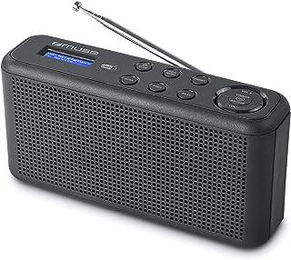 Muse M-102 DB - DAB 收音机和收音机闹钟,带双重闹铃,用于电源和电池操作,AUX 输入,适用于手机(DAB+,FM,电台存储),黑色
