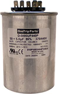 OneTrip Parts USA Run 电容器 50+5 UF 50/5 MFD 370 VAC / 440 VAC 2-1/2 英寸圆形重型电池