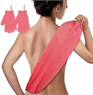 EvridWear 去角质背部磨砂膏,两侧用于身体淋浴,深层清洁皮肤按摩,激*液循环,男士女士均码(背部磨砂 + 重型手套粉色)