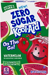 Kool-Aid Zero Sugar Watermelon Flavored Drink Mix, 0.33 Ounce (Pack of 12)