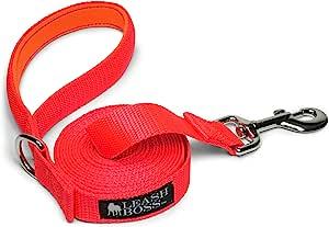 leashboss 10OR 4.6m 狗绳带衬垫手柄–长牵狗绳适用于远足,野营,探索,或散步 橙色 15 Ft