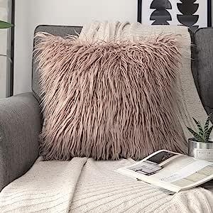Phantoscope 豪华系列抱枕套人造毛皮蒙古风格毛绒靠垫套,适用于沙发床和椅子,米色,22 x 22 英寸,55 x 55 厘米