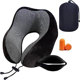 *旅行颈枕适用于汽车飞机和办公室,柔软舒适 U 形*泡沫枕头,带眼罩和 2 个耳塞配件便携式黑色