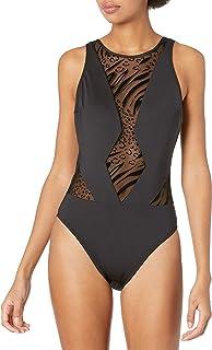 Kenneth Cole New York 女式高领网眼低领 Mio 连体泳衣