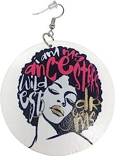 自然 AFRO *款式耳环/自然发/非洲裔美国女性耳饰/木质首饰
